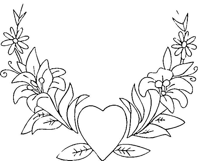 Disegno da colorare corona con cuore e fiori - Libri da colorare di fiori ...