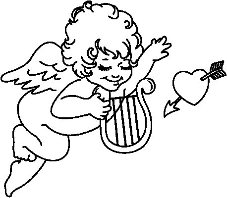 Disegno Da Colorare Cupido Con Arpa